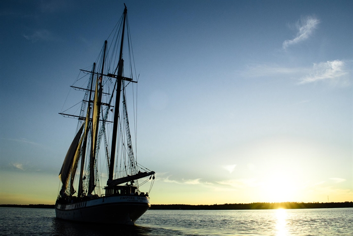 Tall ships were a common sight on the river in the past. Photo M. Chahley
