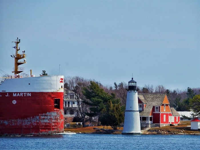 Brandon Lee's photograph, April 9, of a perfect day from TI Park.  Posted on the St. Lawrence Ship Watcher's Facebook page.