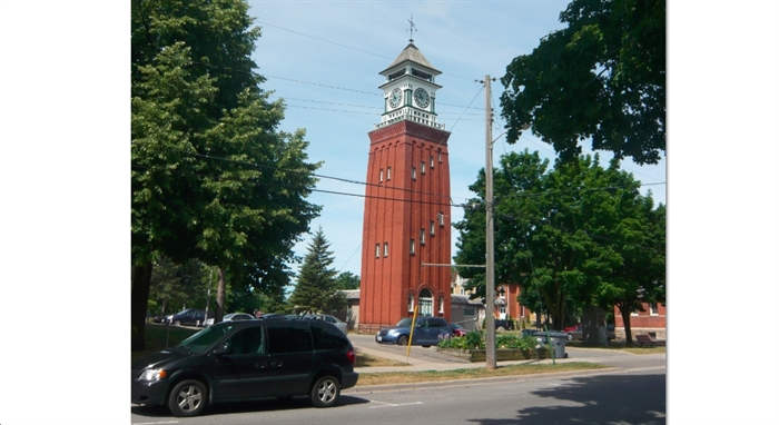 The Gananoque Clock Tower, designed by architect Frank T. Lent and built by Mitchell & Wilson