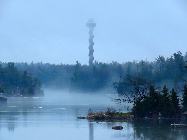 One of those cold misty days. Dennis McCarthy takes the photo of the Tower on Hill Island. Be sure to plan a trip up the Tower in 2017.