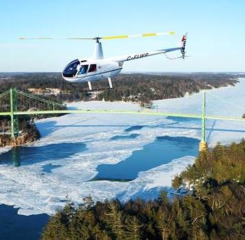 A George Fischer helicopter photo used in 1000 Islands Gananoque promotional material.