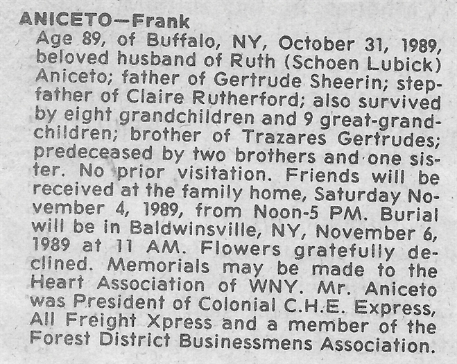 Franks Obituary supplied by Scott Frederickson