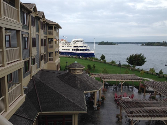 Mona Marie-France Bikay-Blais captures the 1000 Islands Harbor Hotel and the visiting ship.