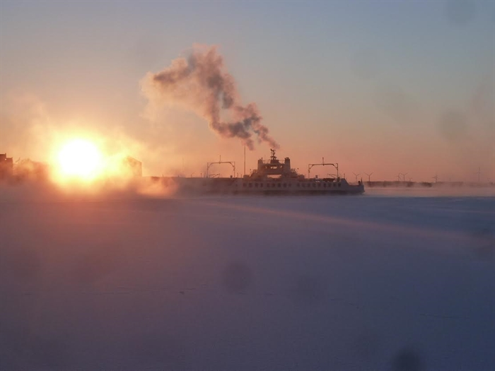 Phil Hartwick shared this one. Kingston waterfront and Wolfe Islander at –25 F..It was very cold !