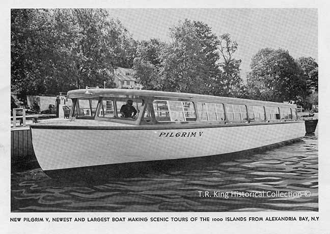 """Pilgrim V"" was the flagship of the Pilgrim Boat Tours line and was one of the larger single deck wooden tour boats built. She later became ""Uncle Sam VIII"" and ""Miss Clayton IV""."