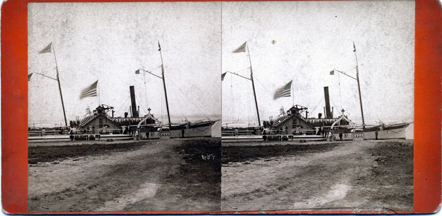 Steamers at Dock:  View of TI Park -- This view shows the original main dock at Thousand Island Park