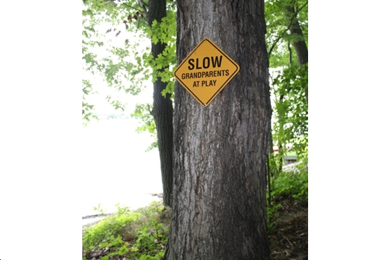 The only traffic sign on Tremont Island, is featured. Photo by K. Lunman