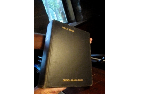The pulpit bible Lucy Grenell donated to the chapel at the dedication.