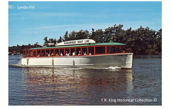 "The Gananoque Boat Line's ""Lynda VIII"", in her red, green and white colour scheme, was a very familiar sight throughout the 1000 Islands for many years."