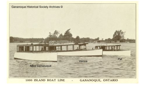 """Miss Gananoque"", ""Venice"", and ""Pat"" were part of the 1000 Island Boat Line fleet operating out of Gananoque."