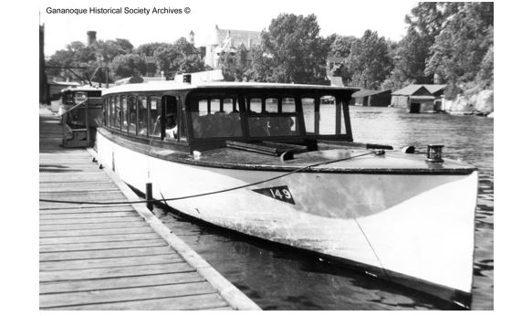 """Sun Dance"" was one of the early boats of the Gananoque Boat Line. Built in Gananoque by Jack Malette, she was later renamed ""Island Wanderer III""."