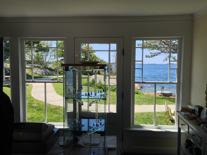 The breezeway of the house now serves as a gift shop with a beautiful view upriver.