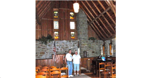 Connie and Mary Grenell inside the Grenell Island Chapel