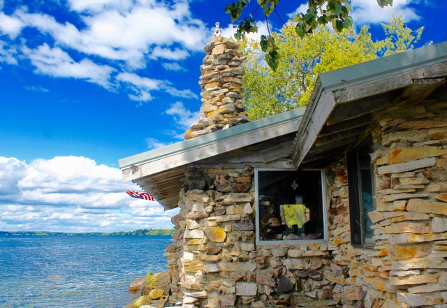 This stone house on Perch Island (Peach Island on the charts) near Hammond N.Y. was built one river rock at a time. Photo by Kim Lunman/Island Life Magazine/ www.islandlifemag.ca