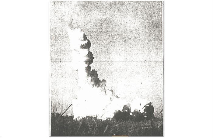 The Cape Vincent Rocket Launch in the 1960s.  Photo from a WDT clipping. K&D McCarthy Collection
