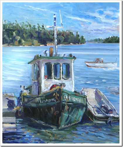 Ishpemig-River Work Tug-oil on canvas 24x20 inches