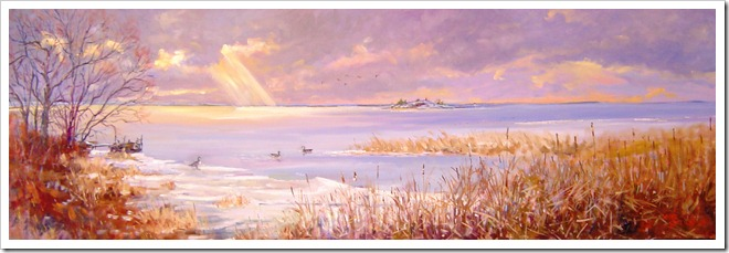 Morningshine!...at Chimney Island-oil on canvas 16x48 inches