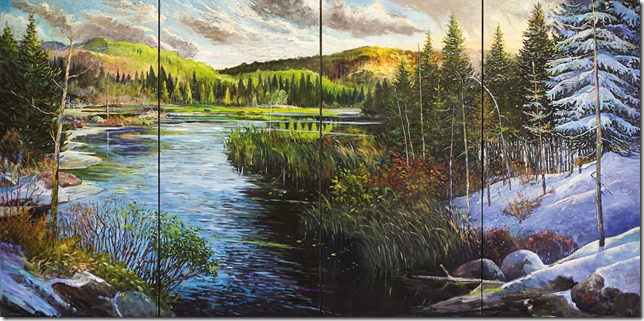 The Magnificence of Algonquin Thru' the Seasons- oil on 4 canvases  6x12 feet